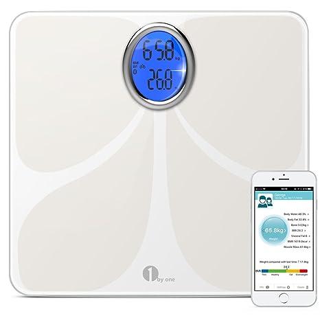 1byone Digital Cuerpo Bluetooth Escala grasa corporal escala Escala báscula de baño con teléfono y Tablet