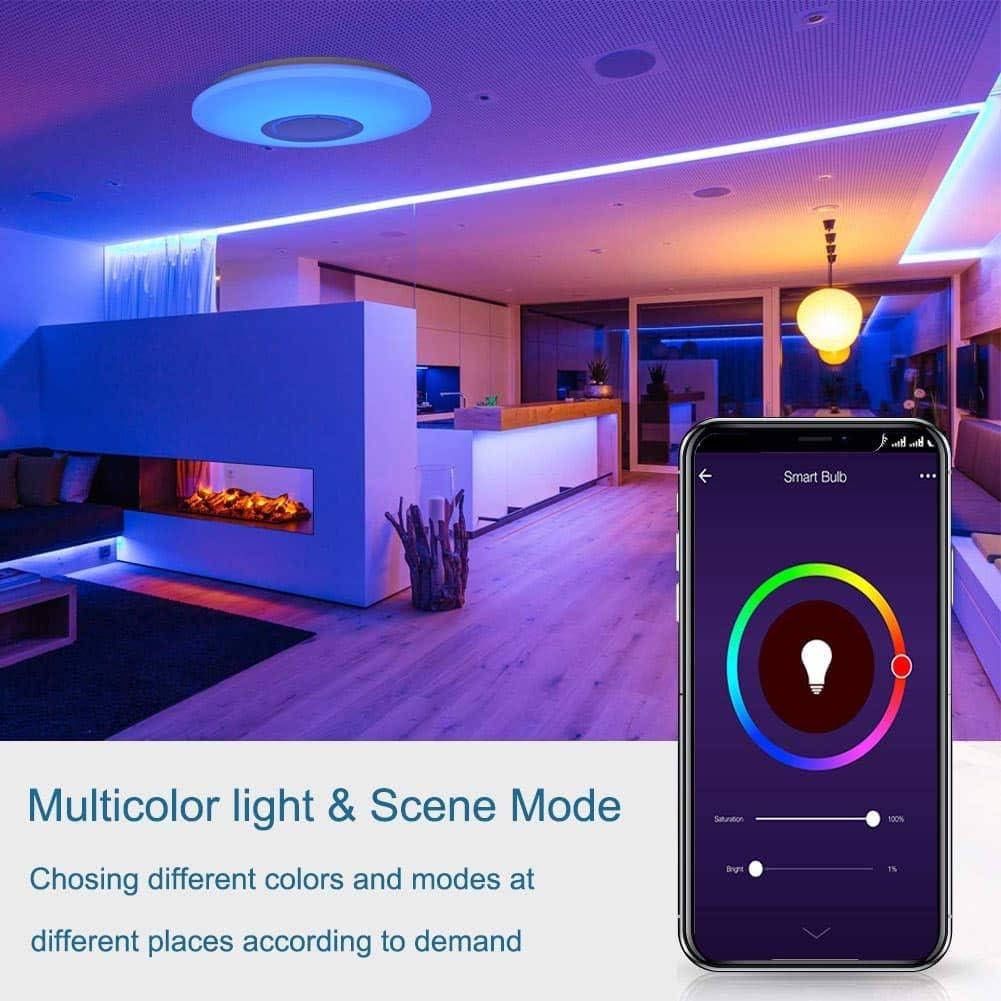 moderna l/ámpara de techo regulable empotrable APP para tel/éfono m/óvil L/ámpara de techo LED con altavoz Bluetooth de 36 W 15 pulgadas cambio de color RGB con mando a distancia para sal/ón