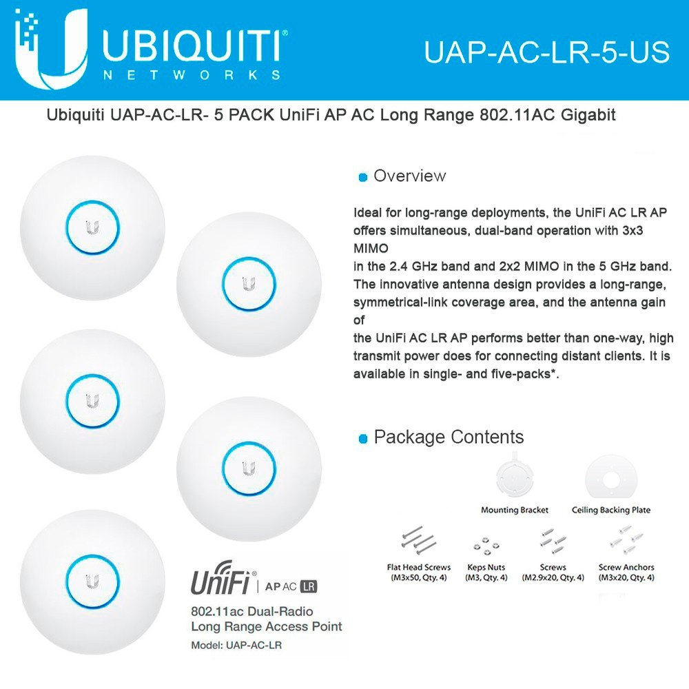 Ubiquiti UniFi UAP AC LR 2.4GHz/5GHz, 802.11ac, No PoE adapters in Set - 5 Pack by Ubiquiti Networks (Image #1)