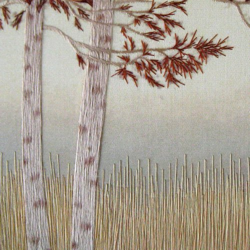 King Silk Art, 100% Handmade Suzhou Silk Embroidery, Framed Art 13x13 inch - Pair of Aspen Trees 37092WF