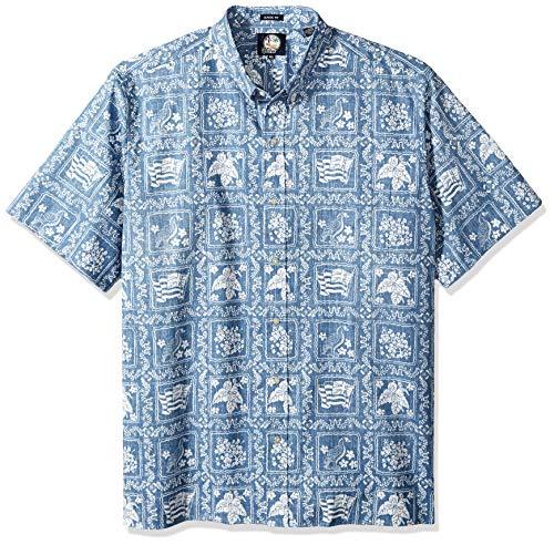 Reyn Spooner Men's Lahaina Sailor Spooner Kloth Classic Fit Hawaiian Shirt, Denim, XXL