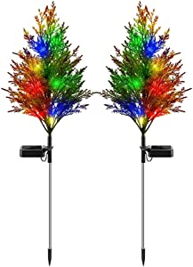 Tiemahun Solar Decorative Landscape Stake Lights, IP65 Waterproof Multicolor LED Flash Lights with Cypress Tree, Outdoor Landscaping Lights for Yard Garden Porch Patio Driveway Walkway Pool 2 Pack