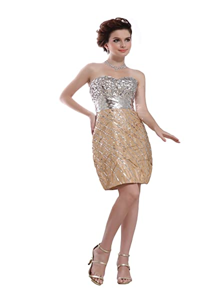 Amazon.com: Angel Formal Dresses Champagne Strapless Sequins Short ...