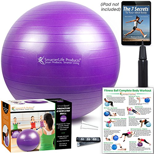 Exercise Ball by SmarterLife | Use for Balance, Stability, Yoga, Pilates, Fitness, Pregnancy, Desk Chair | Multiple Sizes | Anti-Burst, No-Slip Design | Workout Guide + eBook (Purple, 45 cm)