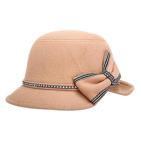Dosige Mujer Vintage Sombrero Gorra Redondo Bowler Cloche Bombín Invierno  Visera Curvada Bowler Hat (Khaki 997b9d79e2f