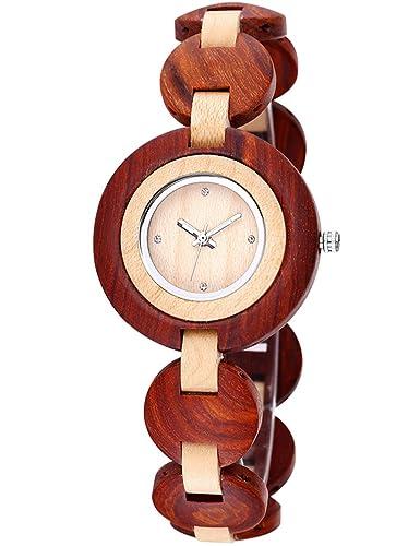Reloj Mujer De Madera Reloj De Pulsera De SáNdalo Hecho A Mano Bewell, Estilo EcolóGico Reloj Mujer Reloj Pulsera De Madera. Gran Idea De Regalo: Amazon.es: ...