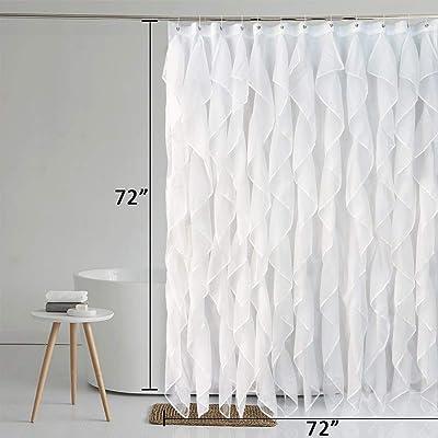 "Ruffle Shower Curtain 70/"" x 72/"" Sheer Voile Vertical Bathroom Shower Curtain"
