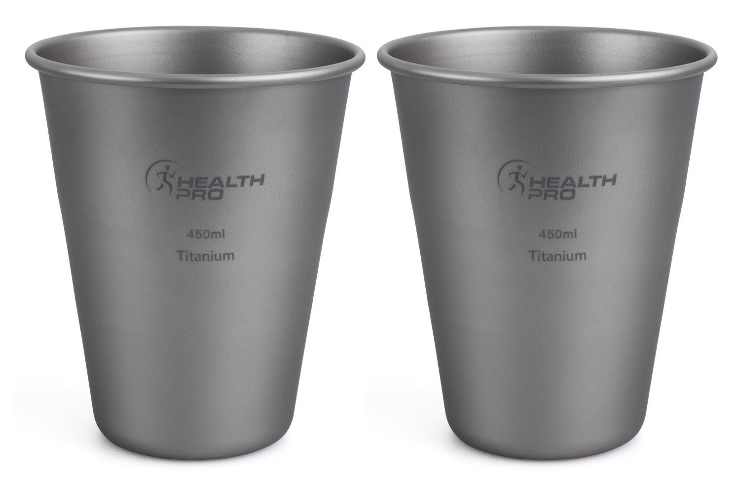 HealthPro Titanium (Ti) Super Strong Lightweight Beer Cup, 15-Ounce (2)