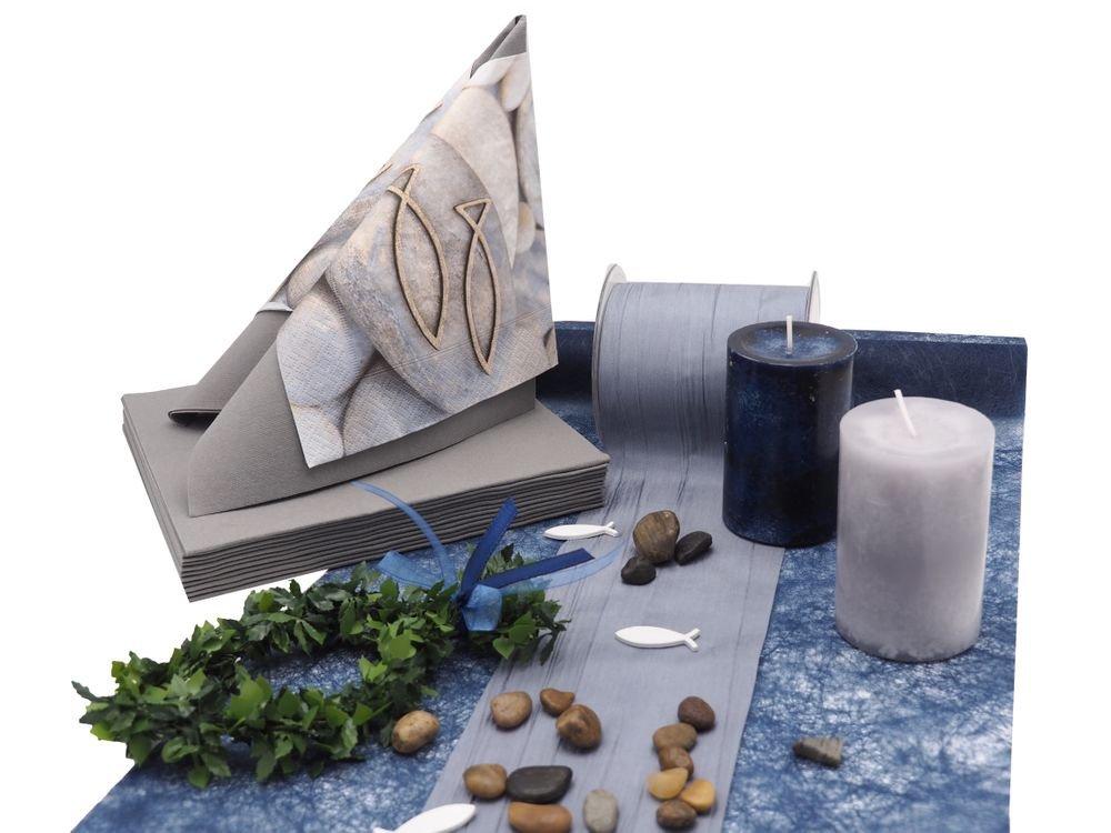 ZauberDeko Tischdeko Kommunion Konfirmation Blau Grau Grün Fisch Set 20 Personen Tischdekoset