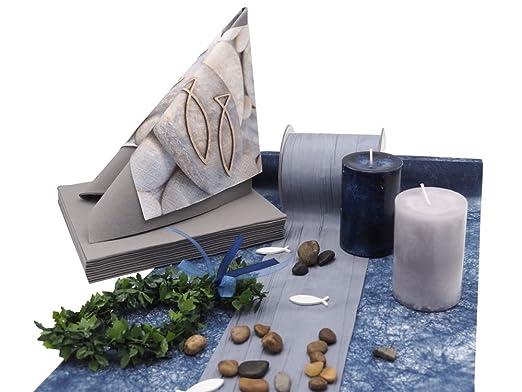 Zauberdeko Tischdeko Kommunion Konfirmation Blau Grau Grun Fisch Set