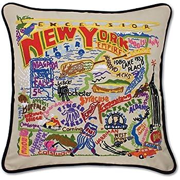 New york hand embroidered pillow catstudio