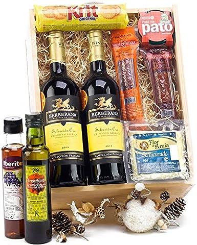 SADIVAL LOTES - Caja Estuche De Madera Selección Gourmet Con Ibéricos Extra Queso Aceite Con Productos Variados Y 2 Botellas De Vino Tinto Seleeción Oro: Amazon.es: Alimentación y bebidas