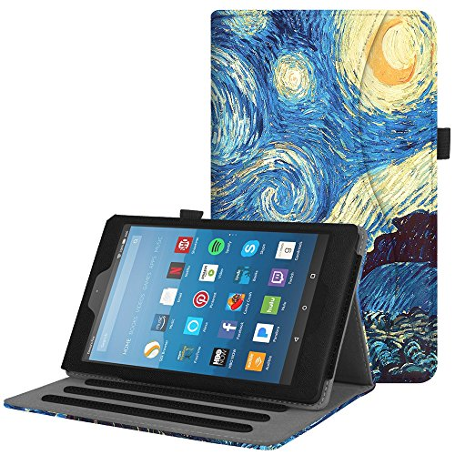 Fintie Case for All-New Amazon Fire HD 8 Tablet (7th and 8th Generation Tablets, 2017 and 2018 Releases) - [Multi-Angle Viewing] Folio Stand Cover with Pocket Auto Wake/Sleep, Starry Night (Case Genuine Kindle Fire Leather)