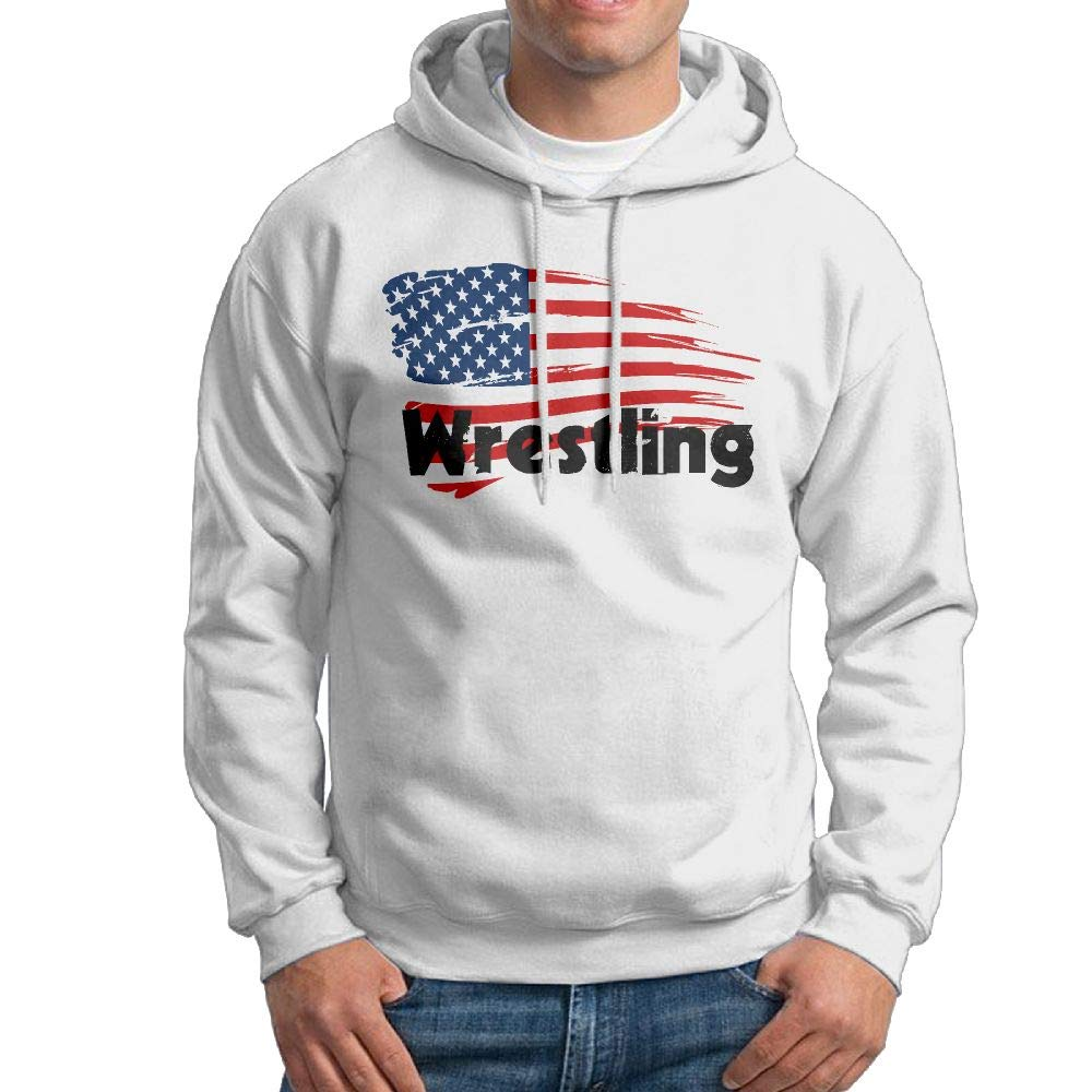 Oiir Ooiip Wrestling American Flag Hooded Sweatshirt Daily Pullover Hoodie for Men by Oiir Ooiip