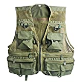 Sougayilang Breathable Quick Dry Mesh Fishing Vests Journalist Photographer Fishing Vest Waistcoat Jacket Coat (Green)