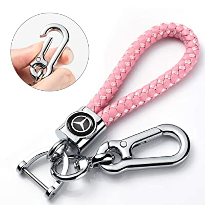 Mercedes Benz Key Chain Accessories Keyring Genuine Leather Car Logo Keychain for Men and Woman with Logo Pink: Automotive