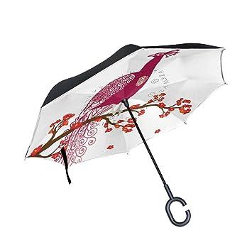 coosun morado pavo real en la flor Rojo Doble Capa Paraguas invertido de rama de árbol