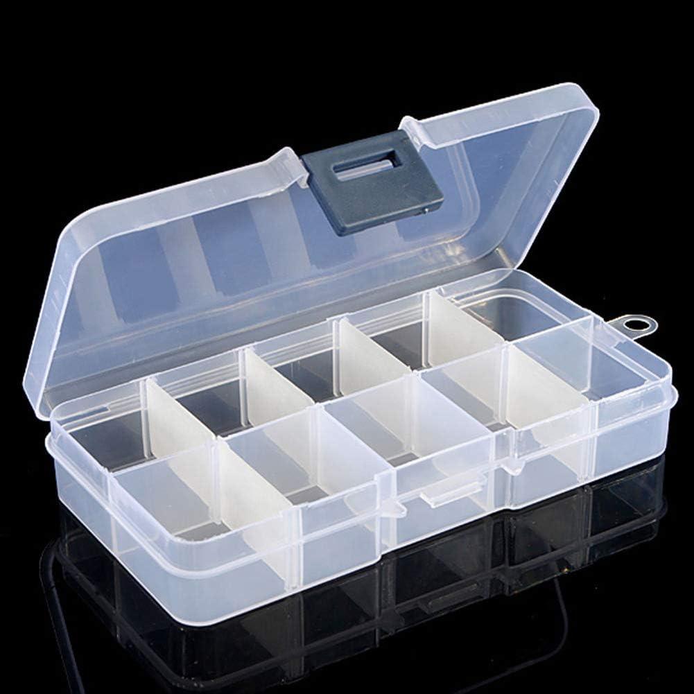 bdrsjdsb Portátil 10 Compartimentos Caja De Almacenamiento De Plástico Transparente Joyería Mini Artículos Grano Tornillo Organizador Contenedor