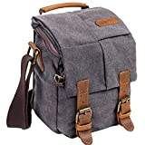 Wowbox Waterproof Canvas Camera Bag Genuine Leather Trim DSLR SLR Shockproof Camera Shoulder Messenger Bag Vintage Outdoor Travel Sling Bag (Gray)