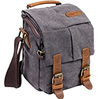 Wowbox Waterproof Canvas Camera Bag Genuine Leather Trim...
