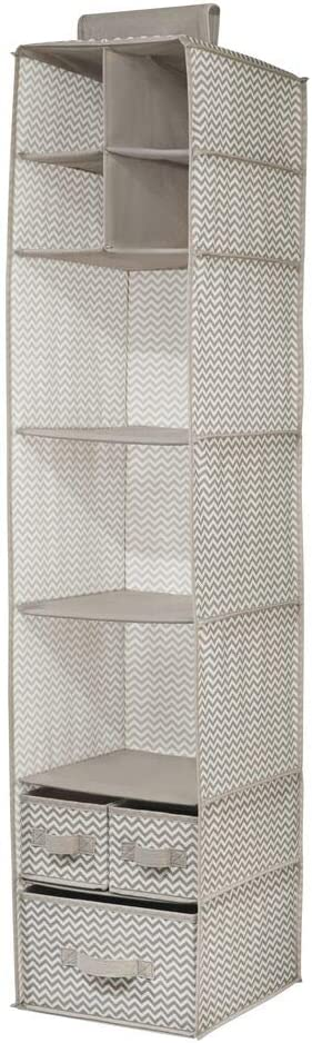 mDesign Soft Fabric Over Closet Rod Hanging Storage Organizer with 7 Shelves and 3 Removable Drawers for Child//Kids Room or Nursery Taupe//Natural Chevron Zig-Zag Print