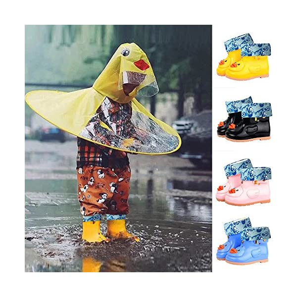 Sikye Kids' Waterproof Sneaker Cartoon Duck Rubber Rain Boot Warm Shoe Velvet for Toddler Boys Girls