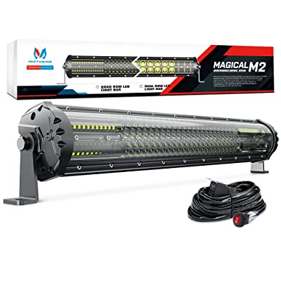 MICTUNING Magical M2 21 Inch Aerodynamic LED Light Bar - 180w Quad Row Off Road Lights 12680lm with 2 Style Adjustable Mounting Brackets and Wiring Harness: Automotive