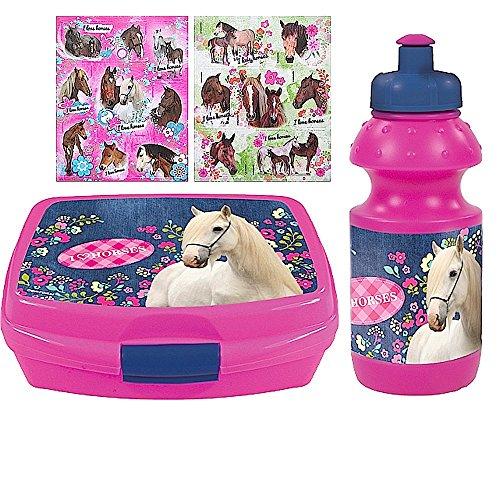 2 tlg. Pferde Set - Brotdose + Trinkflasche + 16 Pferde Sticker - Motiv: I love Horses - für Schule, Sport, Reitunterricht oder Kindergarten