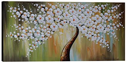 Amazon flower canvas wall art white flower tree painting hand flower canvas wall art white flower tree painting hand painted decor large picture for living room mightylinksfo