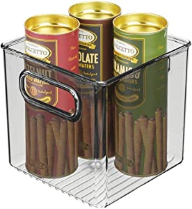 "mDesign Plastic Kitchen Pantry Cabinet, Refrigerator or Freezer Food Storage Bin with Handles - Organizer for Fruit, Yogurt, Snacks, Pasta - Food Safe, BPA Free, 6"" Cube - Smoke Gray"