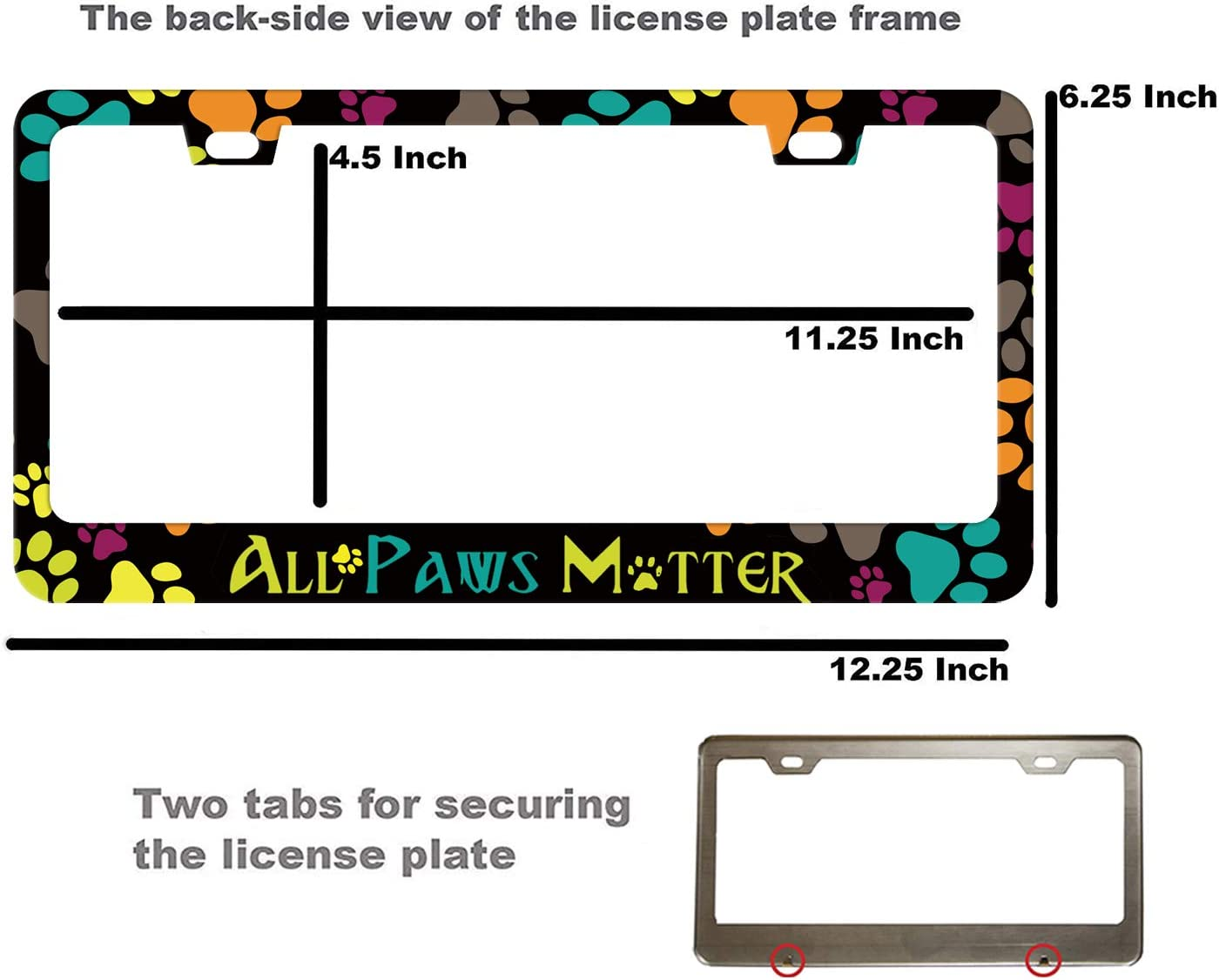 Cute License Plate Holder Dog Paw Car Frame License Plate Cover Art Pet for Women Men Auto Decoration EXMENI All Paws Matter License Plate Frame