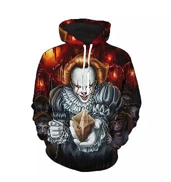 Pennywise 3D Hoodie Sweatshirt Long Sleeve Autumn Winter Hoody Tops Sudadera Sportswear Tracksuit at Amazon Mens Clothing store: