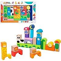 WOOMAX- Juegos Bloques Animales de madera-32 Piezas (Color