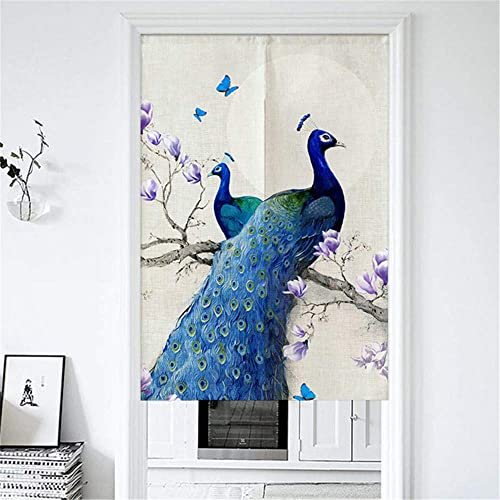 MYRU Japanese Noren Doorway Curtain Tapestry Entrance Feng Shui Door Curtain Blue Peacock,33.5 Inches x 59 Inches