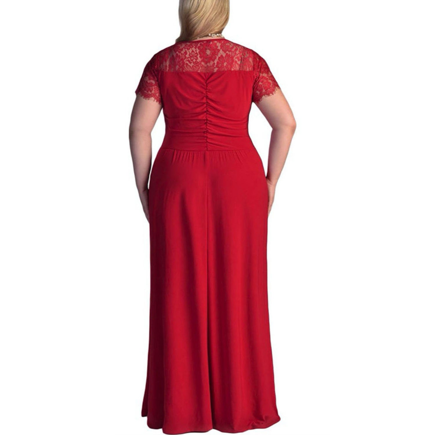 Vestidos Verano 2018 Women Plus Size Short Sleeves Cocktail Gown Long Dresses Beach Sundress N30, Red, L at Amazon Womens Clothing store:
