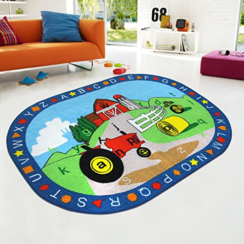 Kids Rug ABC shapes with Farm Tractor for Playroom & Nursery Learning Carpets Play Carpet Country Farm Life Mat Area Rug - Non Skid Gel Backing