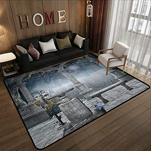 Small Rugs,Gothic Decor,Fictional Middle Age Mythic Stone Bench Balcony Building with Hummingbird Graphic,Grey 78.7