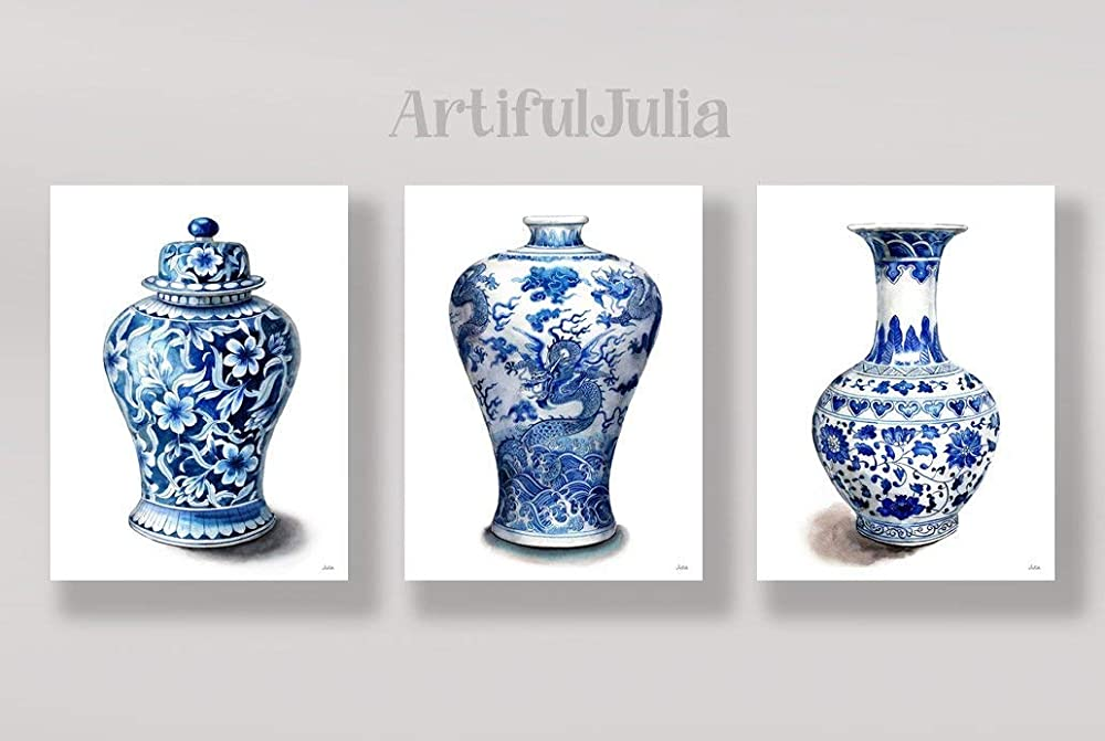 Blue And White Art Set Of 3 Vases Art Print Of Watercolor Painting A Set Of 3 Prints No Frame 5 X 7 8 X 10 9 X 12 11 X 14 And 12 X 16 Handmade