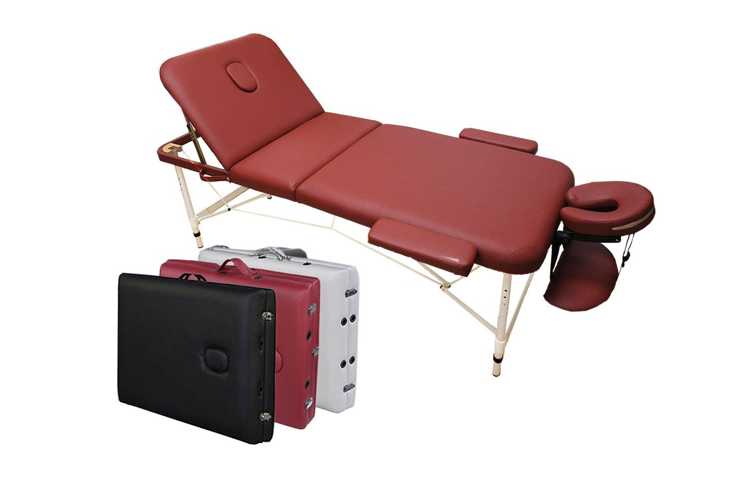 Angel 3-Section Aluminum 84L Portable Massage Table Facial SPA Bed Tattoo w/Free Carry Case (Burgundy Red) Angel Canada