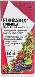 Floradix Iron & Vitamin Formula Liquid, 500 milliliters