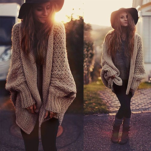 Womens Long Sleeve Oversized Loose Knitted Sweater Jumper Cardigan Outwear Coat (Lab Cardigan)