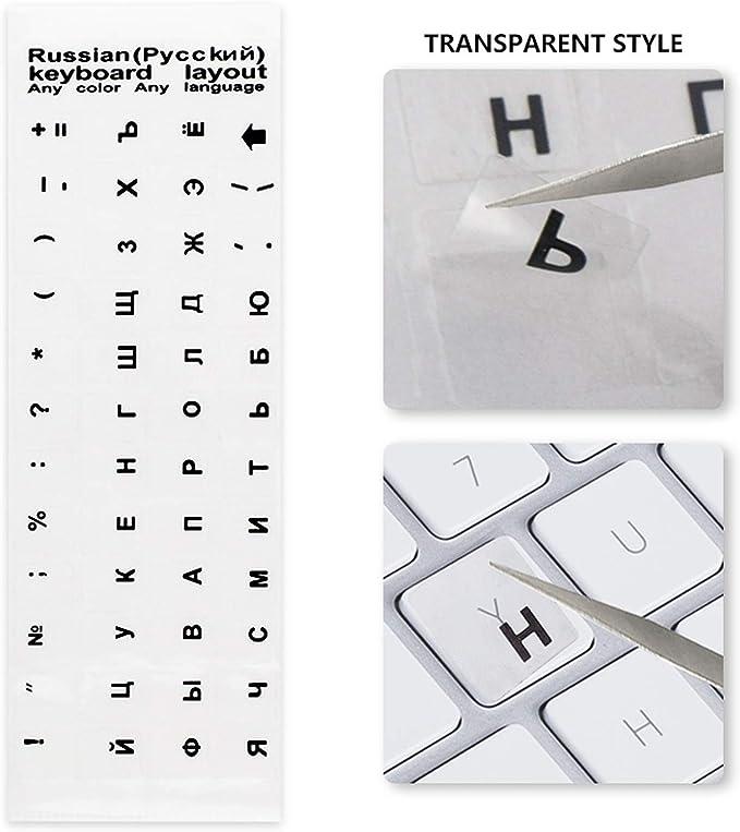 Russe ETGUN Autocollants lumineux clavier pour ordinateur portable Deutsch Arabe Russe Lettre Anglais Film de protection de lalphabet