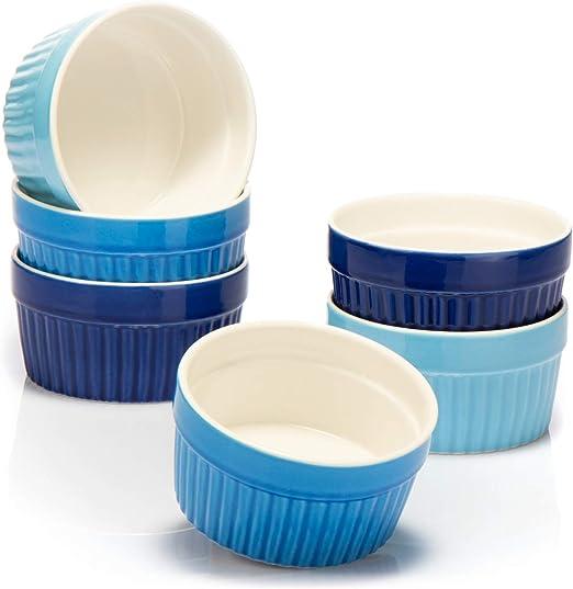 COM-FOUR® 6x Moldes para soufflé - Cuencos de cerámica Creme ...