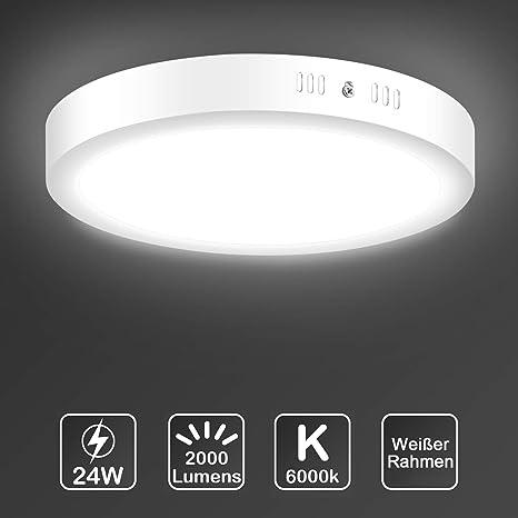 Uchrolls LED Lámpara de techo-24W Plafón de techo redonda, 6000K, Blanco frío, Ø 30 cm, 2000LM,No-Regulable, Se utiliza en Cocina, Dormitorio, Sala de ...