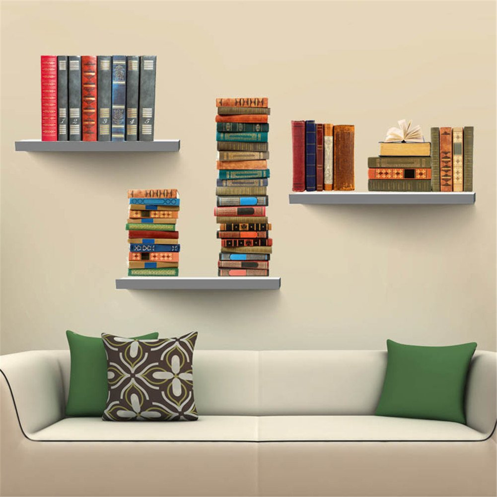 Molie 3D Bookshelf Wall Sticker DIY Waterproof Removable Wall Decal Home Room Decor, 27.6