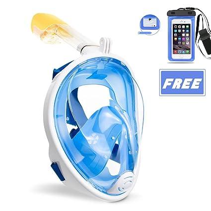 OCEVEN Schnorchelmaske Vollmaske, Tauchmaske Anti-Fog und Anti-Leck-Technologie mit 180 Grad Blickfeld für Kinder und Erwachs