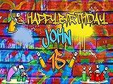 Custom Home Décor Graffiti Birthday Banner - Size 24x36, 48x24, 48x36; Personalized hip hop, Graffiti Brick Party, 90s party, Spray Paint Birthday Banner Wall Décor, Handmade Party Supply Poster Print