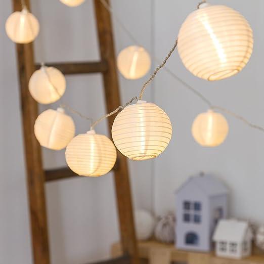 Guirnalda 5,6 m, 16 farolillos de papel diam. 8 cm, LED luz cálida, cableado transparente, guirnalda de luces decorada, luces para fiesta en jardín: Luminalpark: Amazon.es: Hogar
