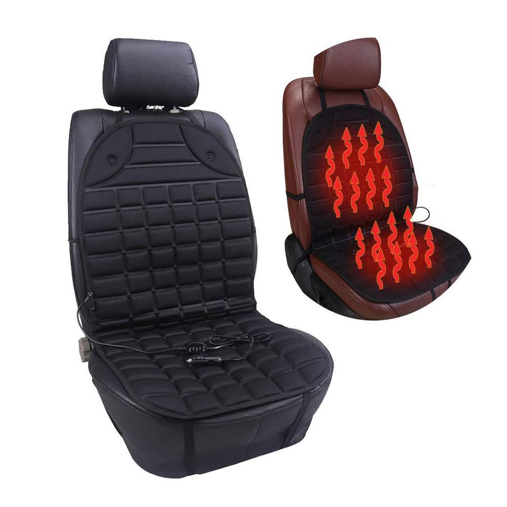 Auto Sitzheizung aus Carbon Heizdecke - STYLINGCAR Waschbar Faltbar Universal Nachrüstsatz Eintragungsfrei mit 2 Stufen Schalter mit Kabel-Organizer für PKW 12V mit Stufenschalter(Weiß 4 PACK)