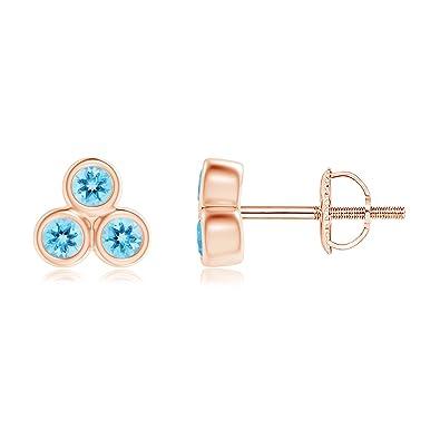 9cf1e8efd Bezel Set Swiss Blue Topaz Trio Cluster Stud Earrings in 14K Rose Gold (2mm  Swiss Blue Topaz): Amazon.co.uk: Jewellery